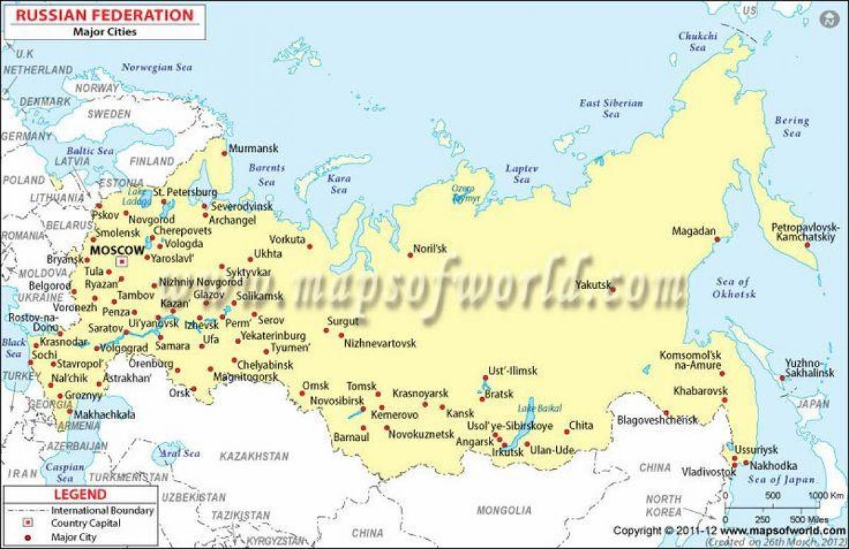 Mapa Rosji Z Miastami Mapa Rosji I Miast Europa Wschodnia Europa