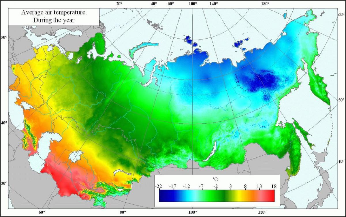 Rosja Temperatury Mapy Mapa Temperatur Rosji Europa Wschodnia